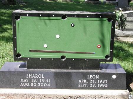 Pool table gravestone